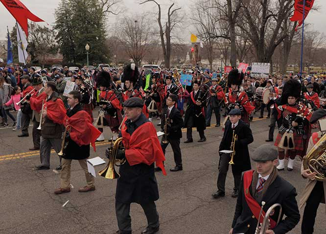 Band leading the March for Life