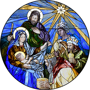 Stained Glass window of the Adoration of the Magi